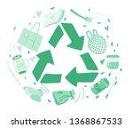 zero waste. recycled symbol.... | Shutterstock .eps vector #1368867533