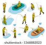 fisherman isometric. fishing in ... | Shutterstock .eps vector #1368882023