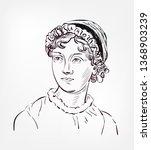 jane austen vector sketch... | Shutterstock .eps vector #1368903239