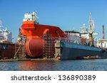 A Large Tanker Repairs In Dry...