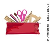 colorful pencil case with...   Shutterstock .eps vector #1368918776
