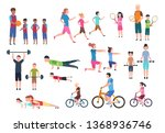 family playing sports. people... | Shutterstock . vector #1368936746