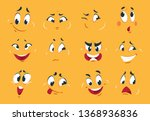 funny cartoon faces. angry... | Shutterstock . vector #1368936836