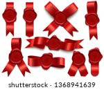 wax seal ribbon. wax stamps on... | Shutterstock .eps vector #1368941639