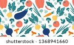 seamless vegetables pattern.... | Shutterstock .eps vector #1368941660