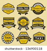 taxi cab set insignia  vintage... | Shutterstock .eps vector #136900118