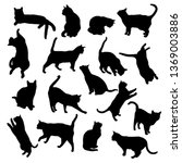 Stock vector set vector silhouettes of the cat different poses standing jumping and sitting black color 1369003886