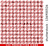 144 prohibition signs  set... | Shutterstock .eps vector #136900526