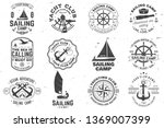 set of sailing camp and yacht... | Shutterstock .eps vector #1369007399
