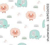 seamless childish pattern with... | Shutterstock .eps vector #1369026503