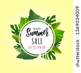summer sale banner with... | Shutterstock .eps vector #1369034009