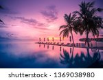 beautiful poolside and sunset...   Shutterstock . vector #1369038980