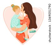 happy mother s day card. mother ... | Shutterstock .eps vector #1369051790