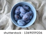 Ripe Blue Plums With Water...