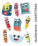 stock vector set cute school... | Shutterstock .eps vector #1369073966