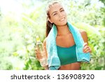 beautiful athletic woman with... | Shutterstock . vector #136908920