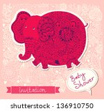 baby shower invitation with... | Shutterstock .eps vector #136910750
