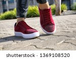red suede running shoes diamond ...   Shutterstock . vector #1369108520