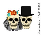 wedding couple skulls... | Shutterstock .eps vector #1369123136