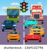traffic jam rom different cars. ...   Shutterstock .eps vector #1369132796