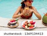 seductive  brunette tan woman...   Shutterstock . vector #1369134413