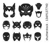 carnival mask black icons in...   Shutterstock . vector #1369137740