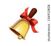 school bell with red ribbon... | Shutterstock .eps vector #136913828