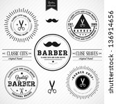 set of vintage barber shop... | Shutterstock .eps vector #136914656