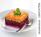 Stock photo herring appetizer with beetroot carrot and avocado 1369147556