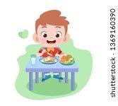 kid boy eat vector illustration | Shutterstock .eps vector #1369160390