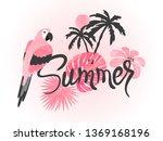 summer watercolor tropical... | Shutterstock .eps vector #1369168196
