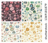 floral seamless pattern set.... | Shutterstock .eps vector #1369181879