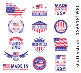 usa labels. flag made america... | Shutterstock .eps vector #1369181900