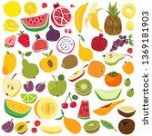 fruits set. cute fruit lemon... | Shutterstock .eps vector #1369181903