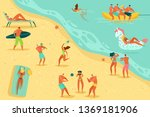 beach people relaxing. persons... | Shutterstock .eps vector #1369181906