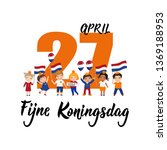 dutch text  happy king's day ... | Shutterstock .eps vector #1369188953