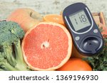 glucometer with result of sugar ... | Shutterstock . vector #1369196930