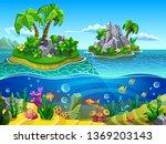 tropical reef. vector... | Shutterstock .eps vector #1369203143