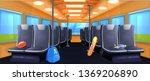 school bus interior. seats in... | Shutterstock .eps vector #1369206890