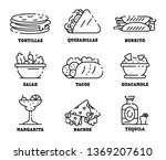 mexican food icons set. outline ... | Shutterstock . vector #1369207610