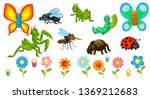 vector set with insects.... | Shutterstock .eps vector #1369212683