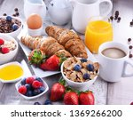 breakfast served with coffee ... | Shutterstock . vector #1369266200