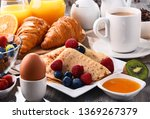breakfast served with coffee ... | Shutterstock . vector #1369267379