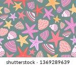 sea theme seamless pattern...   Shutterstock .eps vector #1369289639