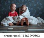 caucasian children in pink t... | Shutterstock . vector #1369290503