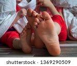 caucasian children in pink t... | Shutterstock . vector #1369290509