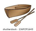 wooden boat with oars. rowing... | Shutterstock .eps vector #1369291643
