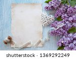 lilac flowers and paper for...   Shutterstock . vector #1369292249