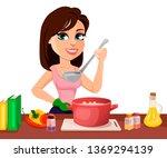 beautiful woman cooking in her... | Shutterstock .eps vector #1369294139
