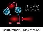 neon sign movie for lovers....   Shutterstock . vector #1369295066